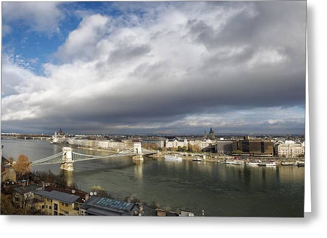 Budapest Panorama Greeting Card by Joan Carroll