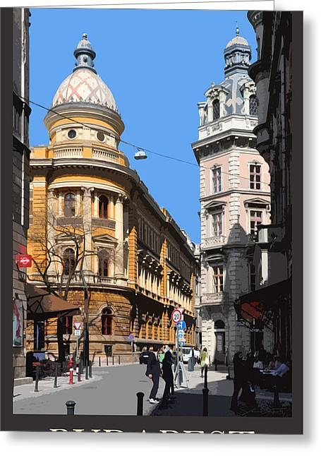 Budapest Poster - Domed Corner Towers Greeting Card by James Dougherty