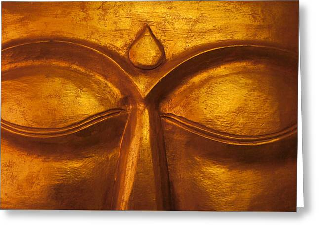 Yoga Sculptures Greeting Cards - Buddha Eyes Greeting Card by Priscilla Wolfe