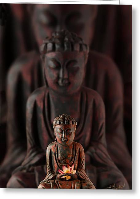 Buddah Greeting Cards - Buddah with Lotus Flower Greeting Card by Judi Quelland