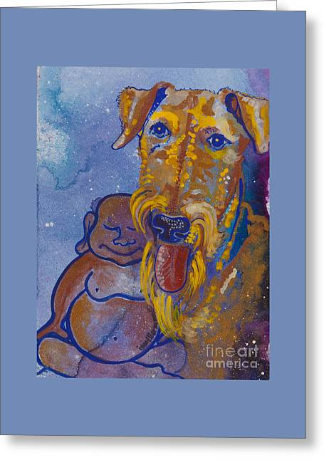 Buddha And The Divine Airedale No. 1332 Greeting Card by Ilisa  Millermoon