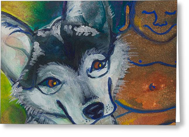 Magickal Greeting Cards - Buddha and the Divine Husky No. 1327 Greeting Card by Ilisa  Millermoon