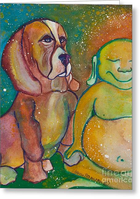 Magickal Greeting Cards - Buddha and the Divine Basset Hound No. 1318 Greeting Card by Ilisa  Millermoon