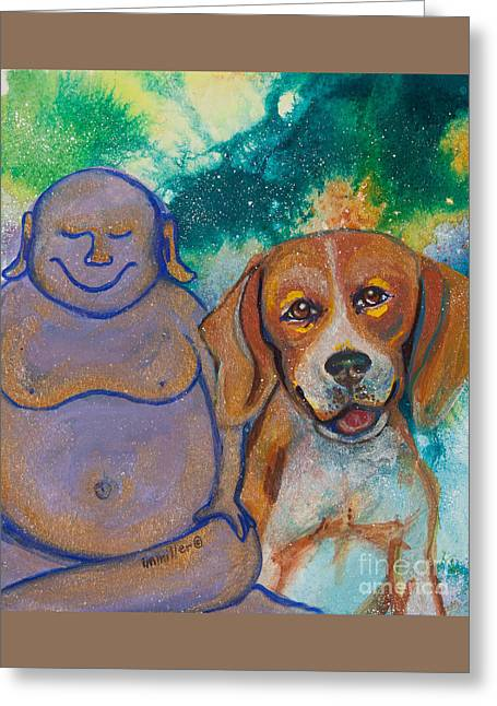Magickal Greeting Cards - Buddha and the Divine Beagle No. 1325 Greeting Card by Ilisa  Millermoon