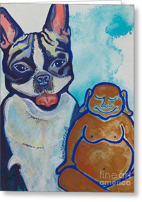 Boston Terrier Watercolor Greeting Cards - Buddha and the Divine Boston Terrier No. 1331 Greeting Card by Ilisa  Millermoon