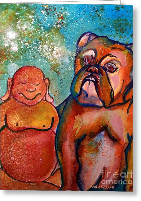 Magickal Greeting Cards - Buddha and the Divine Bulldog No. 1316 Greeting Card by Ilisa  Millermoon