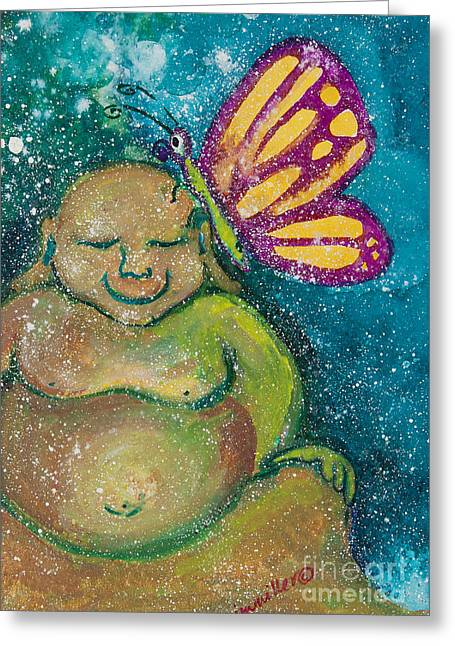 Magickal Greeting Cards - Buddha and the Divine Butterfly No. 1238 Greeting Card by Ilisa  Millermoon