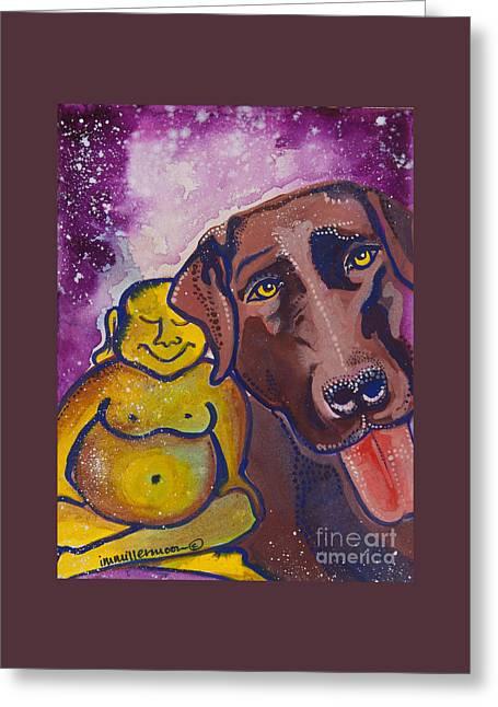 Chocolate Lab Greeting Cards - Buddha and the Divine Chocolate Lab No. 1329 Greeting Card by Ilisa  Millermoon