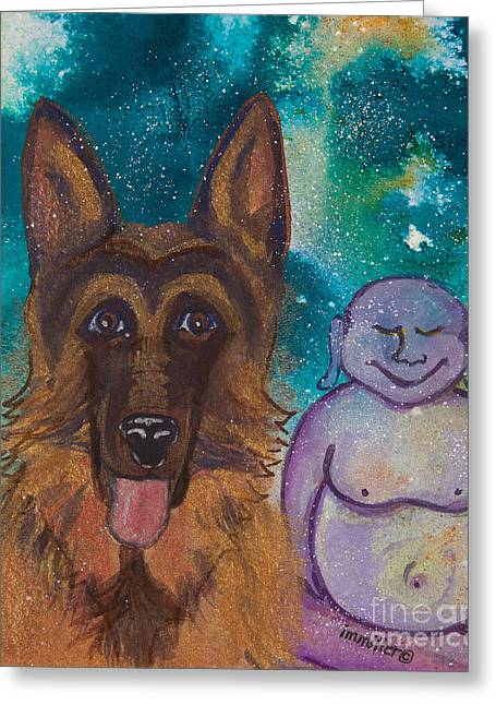Magickal Greeting Cards - Buddha and the Divine German Shepherd No. 1319 Greeting Card by Ilisa  Millermoon
