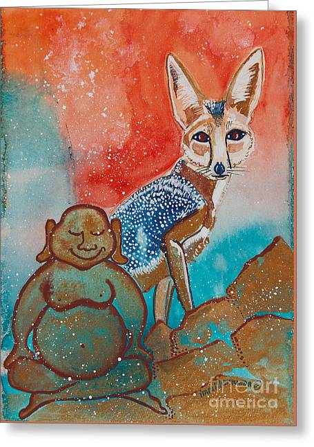 Magickal Greeting Cards - Buddha and the Divine Kit Fox No. 1373 Greeting Card by Ilisa  Millermoon