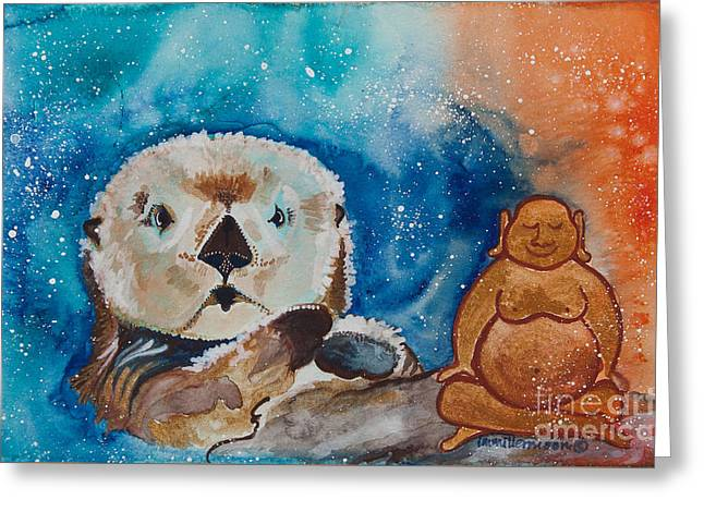 Sea Animals Greeting Cards - Buddha and the Divine Otter No. 1374 Greeting Card by Ilisa  Millermoon