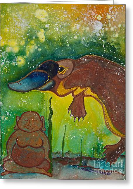 Magickal Greeting Cards - Buddha and the Divine Platypus No. 1375 Greeting Card by Ilisa  Millermoon