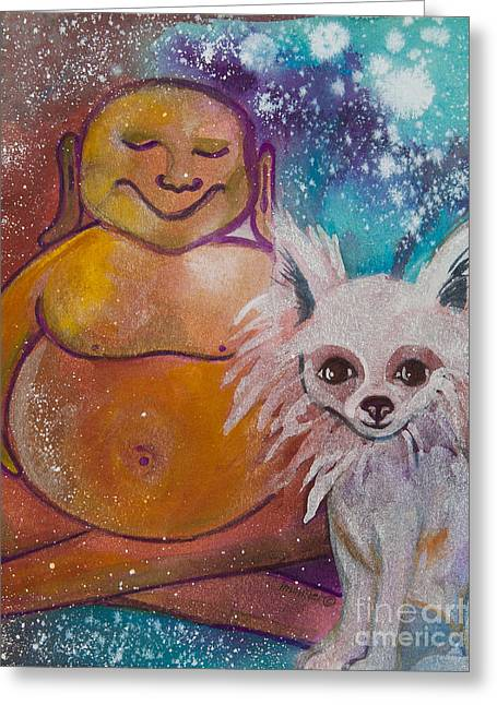 Magickal Greeting Cards - Buddha and the Divine Pomeranian No. 1323 Greeting Card by Ilisa  Millermoon