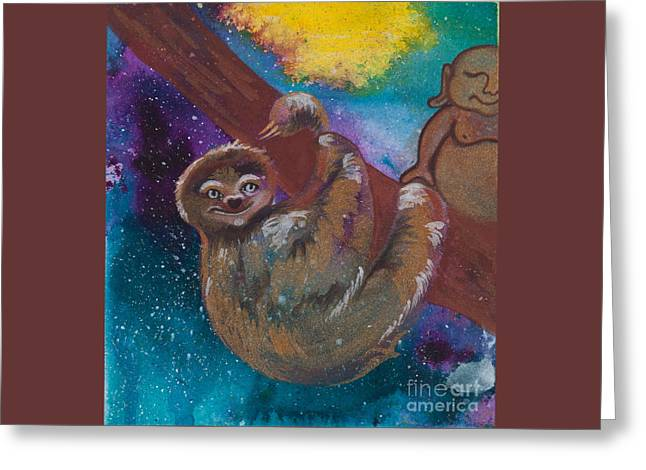 Sloth Paintings Greeting Cards - Buddha and the Divine Sloth No. 2087 Greeting Card by Ilisa  Millermoon