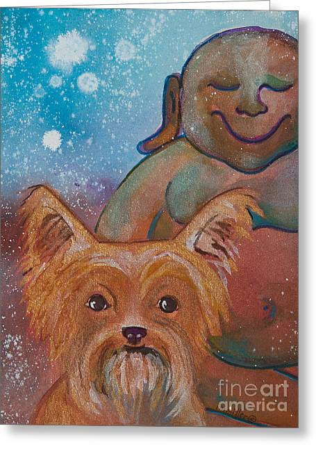 Magickal Greeting Cards - Buddha and the Divine Yorkie No. 1326 Greeting Card by Ilisa  Millermoon