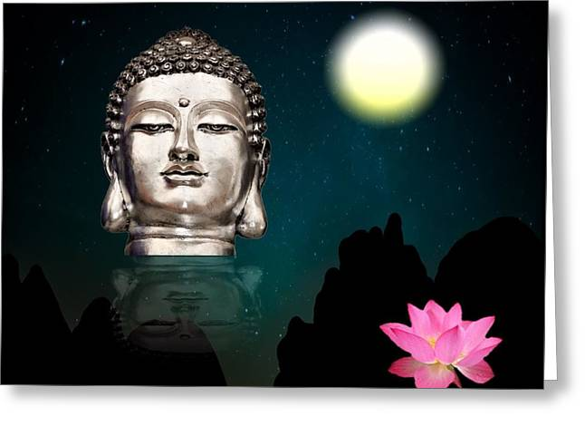 Spa work Mixed Media Greeting Cards - Buddha and the Moon Greeting Card by Magdalena Walulik