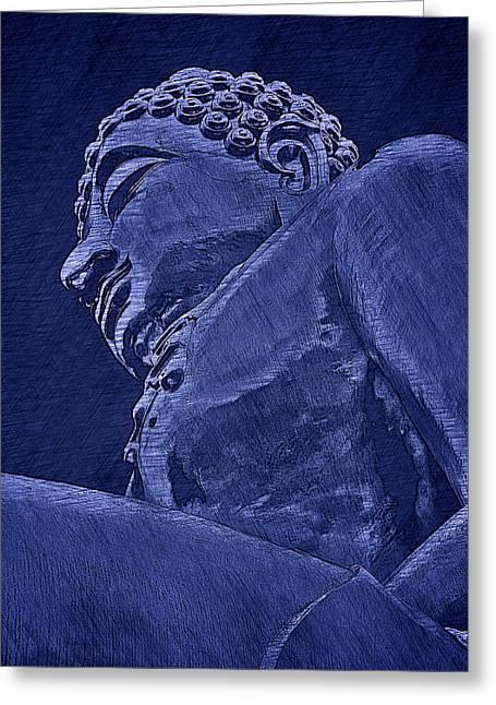 Buddha At The Golden Triangle - Blue Sketch Greeting Card by Fini Gamundi