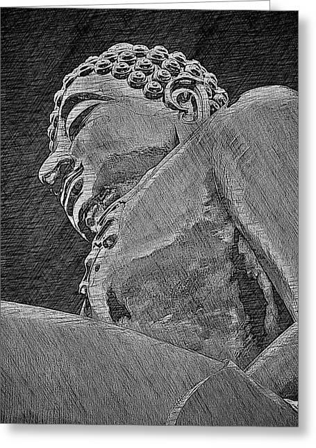 Buddha At The Golden Triangle - Grey Sketch Greeting Card by Fini Gamundi