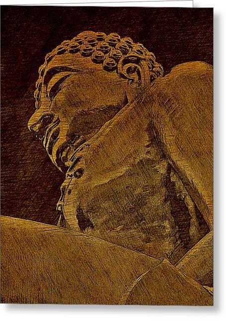 Buddha At The Golden Triangle - Sepia Sketch Greeting Card by Fini Gamundi