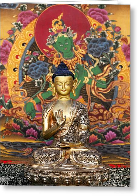 Buddha Blessing Greeting Card by Tim Gainey
