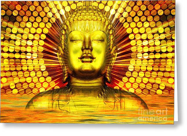 Statue Portrait Mixed Media Greeting Cards - Buddha Effulgence Greeting Card by Khalil Houri