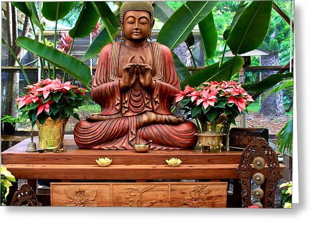 Buddha Enlightenment - The Sacred Garden Greeting Card by Karon Melillo DeVega