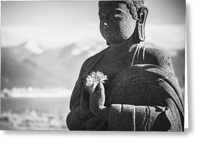 Religion Greeting Cards - Buddha Flower Greeting Card by Jamie Tipton
