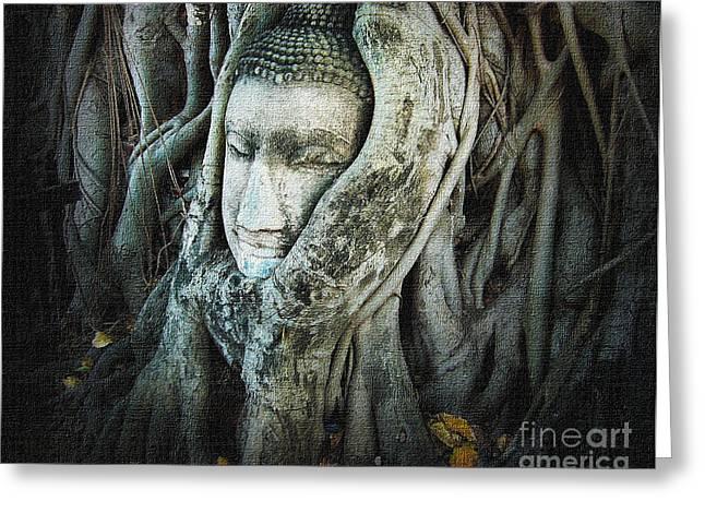 Head Dark Buddha Greeting Cards - Buddha Head Greeting Card by Eena Bo