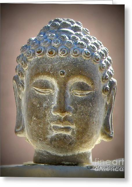 Buddha Head Statue Greeting Card by Lainie Wrightson