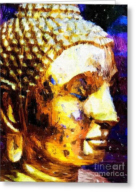 Statue Portrait Mixed Media Greeting Cards - Buddha Immersion Greeting Card by Khalil Houri