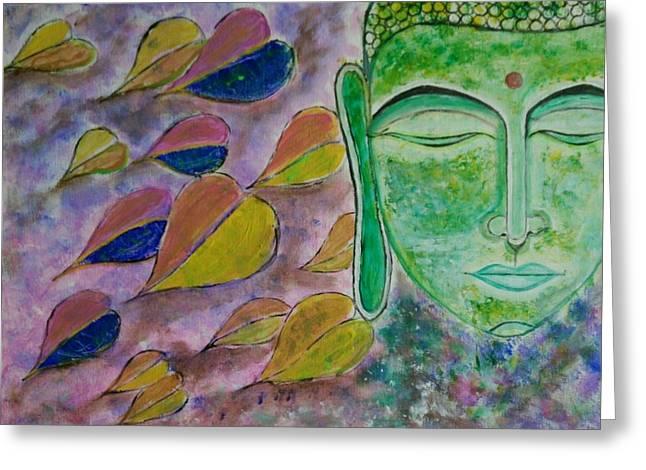 Buddha In Meditation  Greeting Card by Chetana Mantri