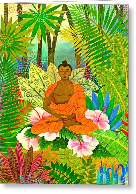Enlightenment Greeting Cards - Buddha in the Jungle Greeting Card by Jennifer Baird