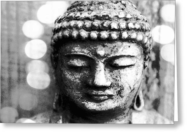 Feng Shui Art Mixed Media Greeting Cards - Buddha Greeting Card by Linda Woods