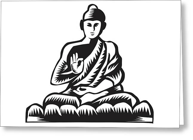 Buddha Lotus Pose Woodcut Greeting Card by Aloysius Patrimonio