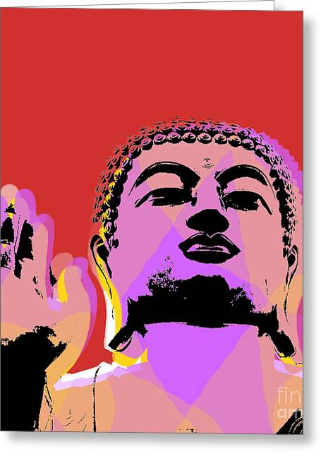 Buddha Pop Art  Greeting Card by Jean luc Comperat
