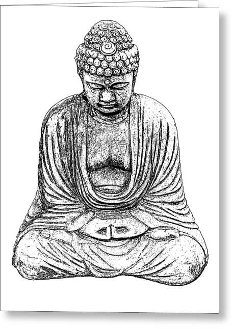 Buddha Sketch Greeting Card by Jim Dollar