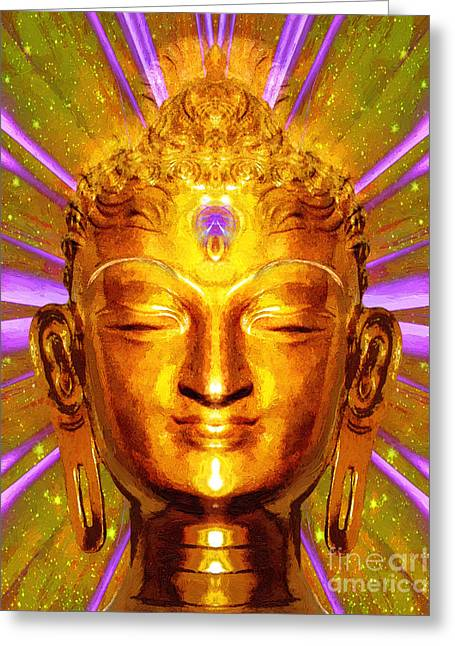 Statue Portrait Mixed Media Greeting Cards - Buddha Smile Greeting Card by Khalil Houri