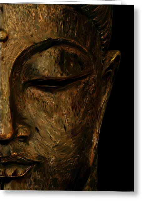 Buddha Sculptures Greeting Cards - Buddha Statue Greeting Card by Ali Abdallah