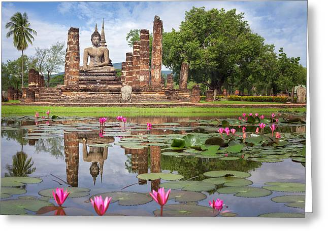 Reflex Greeting Cards - Buddha Statue at Wat Mahathat  Greeting Card by Anek Suwannaphoom