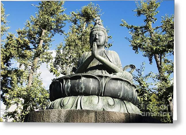Prayer Warrior Greeting Cards - Buddha statue Greeting Card by Bill Brennan - Printscapes