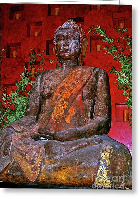 Supreme Happiness Greeting Cards - Buddha Statue  Greeting Card by Mariola Bitner