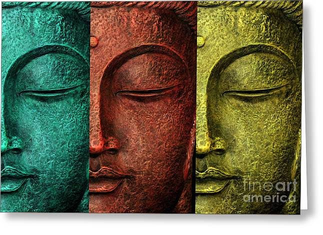 Statue Portrait Greeting Cards - Buddha Statue Greeting Card by Mark Ashkenazi