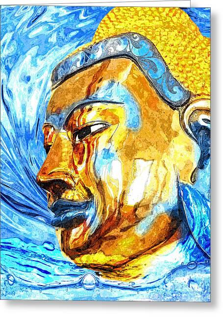 Statue Portrait Mixed Media Greeting Cards - Buddha Surf Greeting Card by Khalil Houri