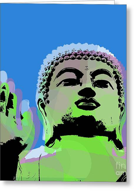 Buddha Warhol Style Greeting Card by Jean luc Comperat
