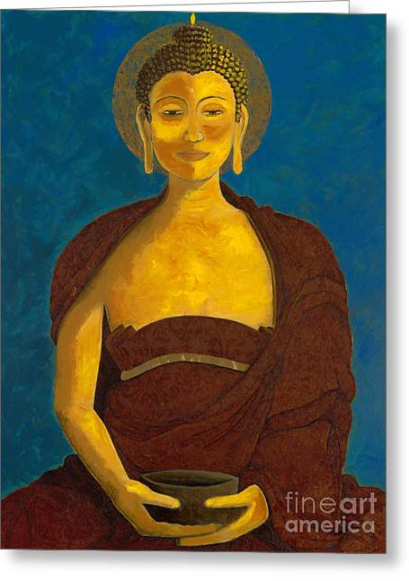 Begging Bowl Greeting Cards - Buddha with Begging Bowl Greeting Card by Kirsten Throneberry