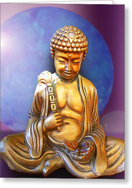 Buddha Sculptures Greeting Cards - Buddha with Butterfly Greeting Card by Ginny Schmidt