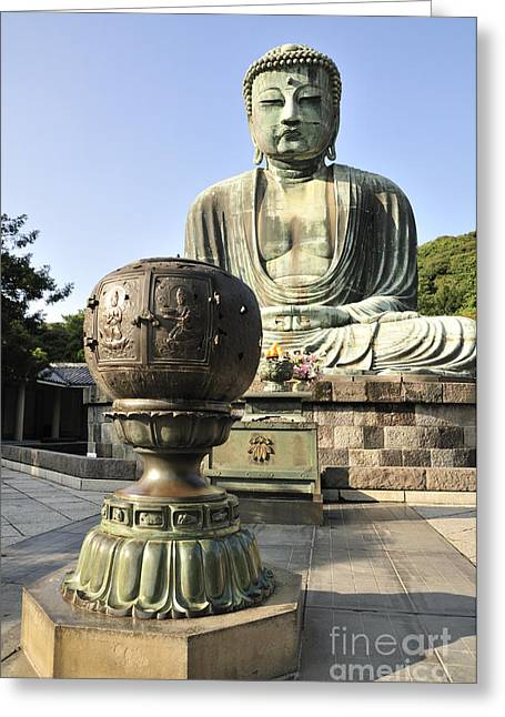 Kamakura Greeting Cards - Buddha with Urn Greeting Card by Andy Smy