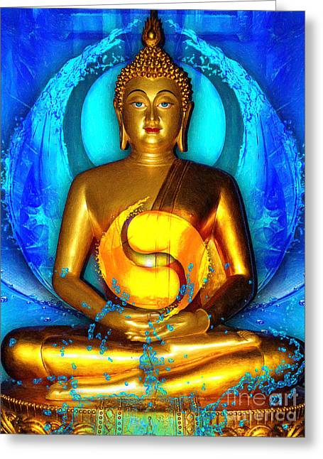 Buddhism Digital Art Greeting Cards - Buddha Yin Yang Greeting Card by Khalil Houri