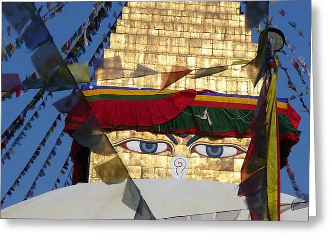Buddha's  Eyes Greeting Card by Dagmar Ceki