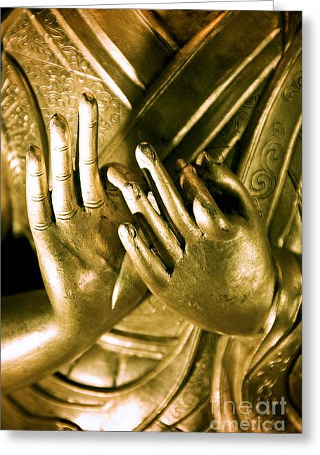 Buddhas Hands Greeting Card by Ray Laskowitz - Printscapes